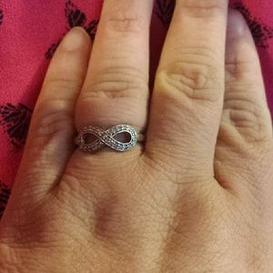 Sterling silver diamond infinity knot ring